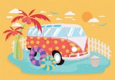 夏天汽车旅游矢量素材