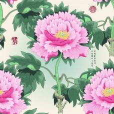 花朵中国风牡丹花图形花纹VI设计矢量