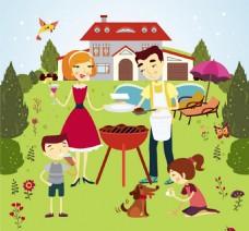 户外烧烤家庭矢量图