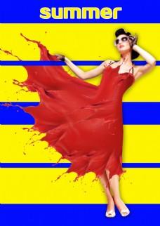 夏天红色水彩喷溅海报背景