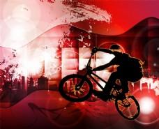 动感红色骑行矢量海报