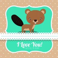情人节卡通可爱小松鼠卡通动物矢量设计