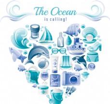 蓝色海洋度假元素爱心矢量素材