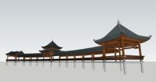 水景公园风雨桥模型