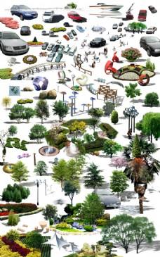 公园景观小品人物树