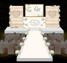 小清新香槟色木纹婚礼舞台婚礼