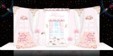 粉色浪漫欧式婚礼展区效果图
