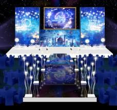 深蓝色梦幻星空灯光婚礼舞台效果图
