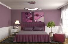 粉色淡雅卧室室内效果图