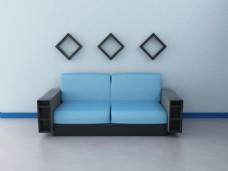 淡雅蓝色系列简约客厅家装效果图
