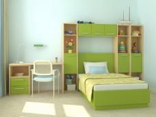 可爱绿色小清新环保儿童房效果图