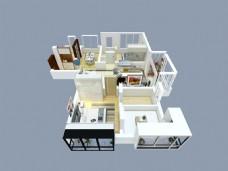 东尚蓝湾房屋室内结构图家装效果图