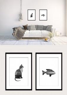 黑白几何猫和鱼形状风景双拼现代装饰画
