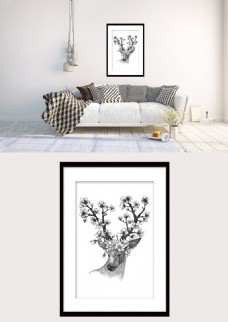 黑白麋鹿花朵简约现代装饰画