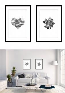 黑白装饰画现代简约几何桃心四叶草形状