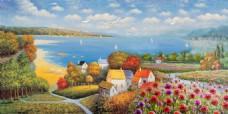 欧洲小镇海滨油画装饰画背景墙