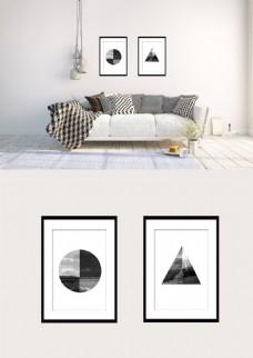 黑白三角形圆形几何风景双拼装饰画