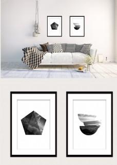黑白几何圆形五边形双拼现代装饰画