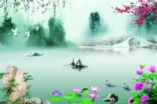 荷塘春色古风中国风山水背景墙