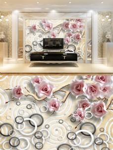 花朵圆圈浮雕背景墙