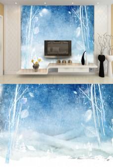 现代简约淡雅蓝白树雪景背景墙