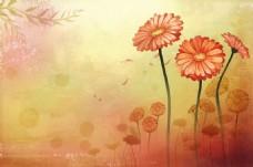 手绘菊花背景墙