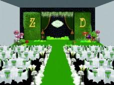 婚礼森系宴会厅舞台背景效果图