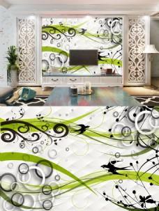 黑白燕子花纹背景墙