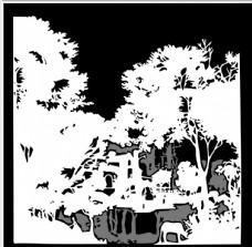 树的黑白画PS