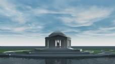 水流建筑风景视频