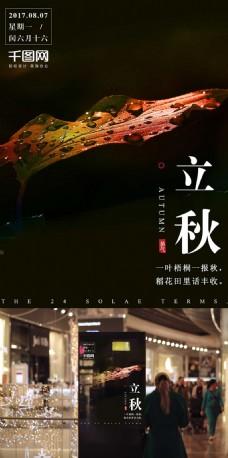唯美色彩枫叶立秋海报设计微信配图