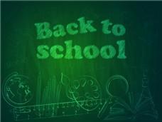 绿色开学学校文具黑板矢量素材