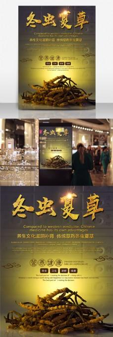 冬虫夏草中医药材中华传统医学食材宣传海报