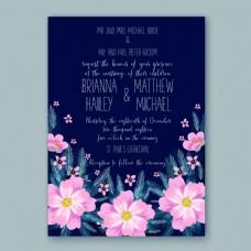 高端花朵花卉婚礼邀请函矢量