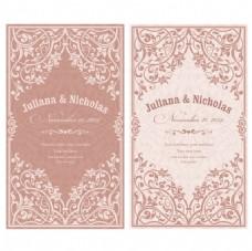 淡粉色复古婚礼请柬矢量素材
