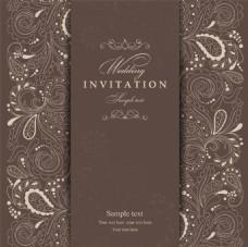 咖啡色花朵复古典雅花纹邀请函卡片矢量