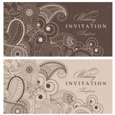 咖啡色精致线条复古典雅花纹邀请函卡片矢量