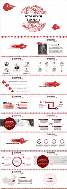 创意红色祥云中国风企业品牌宣传PPT模板