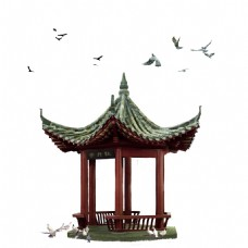 中式复古凉亭元素