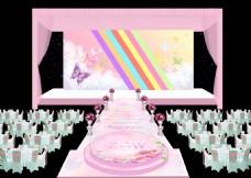 主题婚礼粉色婚礼效果图婚礼舞台设计