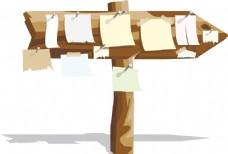 手绘木牌标签元素