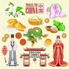 中国传统元素扁平化旅游矢量设计素材