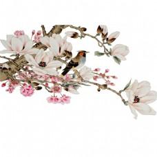 手绘中国风玉兰花元素