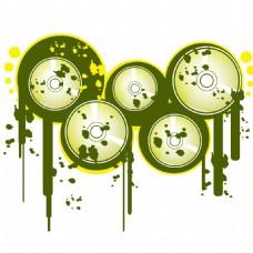 手绘绿色磁带元素