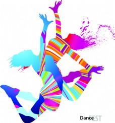 彩色舞蹈剪影矢量素材
