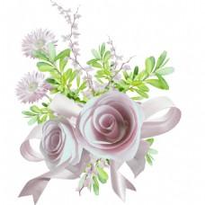 手绘绿叶花朵元素