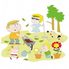 手绘儿童种树元素