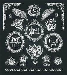 黑白树叶波西米亚风装饰素材