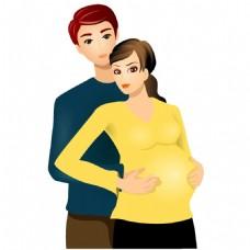 手绘夫妻孕妇元素