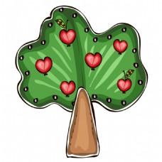 手绘心形苹果元素